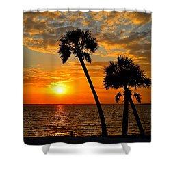 Navarre Beach Bridge Sunrise Palms Shower Curtain by Jeff at JSJ Photography