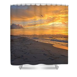 Navarre Pier And Navarre Beach Skyline At Sunrise With Gulls Shower Curtain