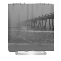 Navarre Pier Disappears In The Bw Fog Shower Curtain