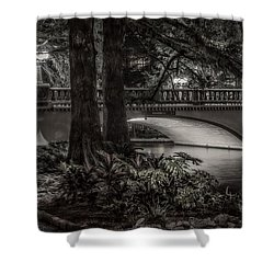 Shower Curtain featuring the photograph Navarro Street Bridge At Night by Steven Sparks