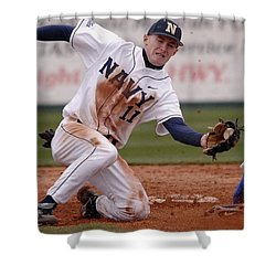 Navy Baseball Shower Curtain by Mountain Dreams