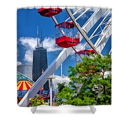 Navy Pier Ferris Wheel Shower Curtain by Christopher Arndt