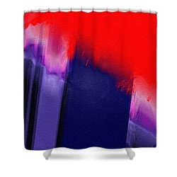 Navy Slash Red Shower Curtain by Dee Flouton