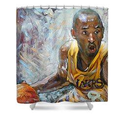 Nba Lakers Kobe Black Mamba Shower Curtain by Ylli Haruni