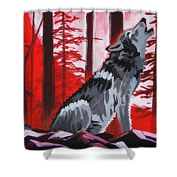 Wolf With Red Sky Shower Curtain
