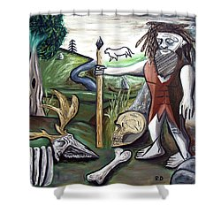 Shower Curtain featuring the painting Neander Valley by Ryan Demaree