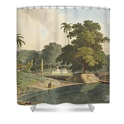 Near Bandell On The River Hoogly, Plate Shower Curtain by Thomas & William Daniell