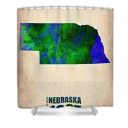 Nebraska Watercolor Map Shower Curtain by Naxart Studio