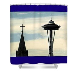 Shower Curtain featuring the photograph Seattle Washington Space  Needle Steeple And Cross by Michael Hoard