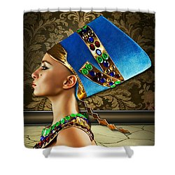 Shower Curtain featuring the digital art Nefertiti by Karen Showell