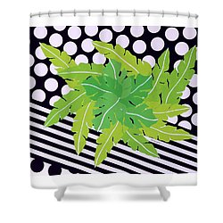 Negative Green Shower Curtain