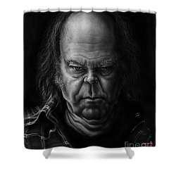 Neil Young Shower Curtain by Andre Koekemoer