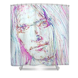 Neil Young - Colored Pens Portrait Shower Curtain by Fabrizio Cassetta