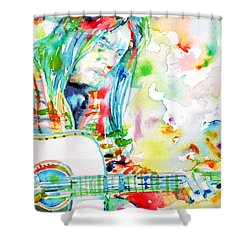 Neil Young Playing The Guitar - Watercolor Portrait.1 Shower Curtain by Fabrizio Cassetta