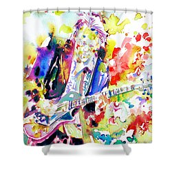 Neil Young Playing The Guitar - Watercolor Portrait.2 Shower Curtain by Fabrizio Cassetta