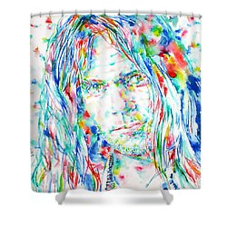 Neil Young - Watercolor Portrait Shower Curtain by Fabrizio Cassetta