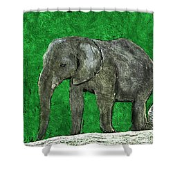 Shower Curtain featuring the digital art Nelly The Elephant by Pennie  McCracken