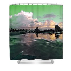 Neon Beach Shower Curtain by Adria Trail