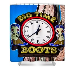 Neon Boots Shower Curtain by Perry Webster