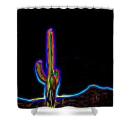 Neon Cactus In Bloom Shower Curtain
