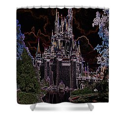 Neon Castle Shower Curtain by Eric Liller