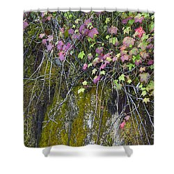 Neon Leaves No 1 Shower Curtain