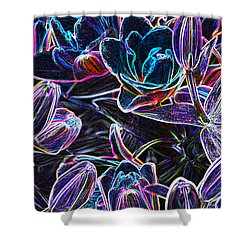 Neon Lilies Shower Curtain by Tine Nordbred