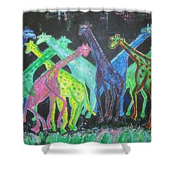 Neon Longnecks Shower Curtain by Diane Pape