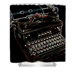 Neon Old Typewriter Shower Curtain by Ernie Echols