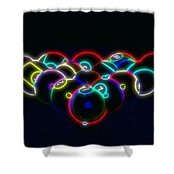 Neon Pool Balls Shower Curtain by Kathy Churchman