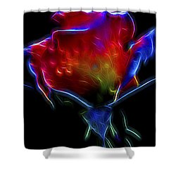 Neon Rose Shower Curtain by William Horden
