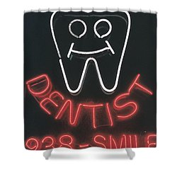 Neon Smile Shower Curtain by Caitlyn  Grasso