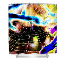 Neon Spider Shower Curtain