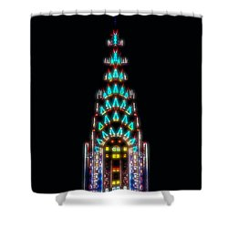 Neon Spires Shower Curtain