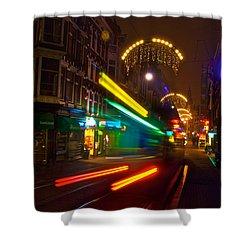 Neon Tram Leidestraat Shower Curtain by Jonah  Anderson