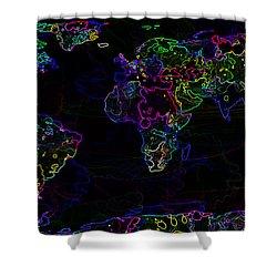 Neon World Map Shower Curtain by Zaira Dzhaubaeva