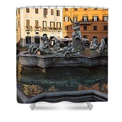 Shower Curtain featuring the photograph Neptune Fountain Rome Italy by Georgia Mizuleva