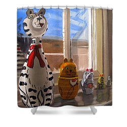 Shower Curtain featuring the painting Nested Cats by LaVonne Hand