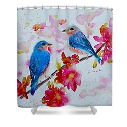 Nesting Pair Shower Curtain by Beverley Harper Tinsley