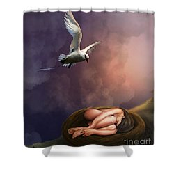 Shower Curtain featuring the digital art Nesting Woman by Rosa Cobos
