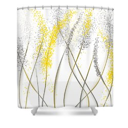 Neutral Sunshine - Yellow And Gray Modern Art Shower Curtain