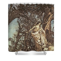 Never So Weary Never So Woeful Illustration To A Midsummer Night S Dream Shower Curtain by Arthur Rackham
