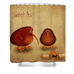 New Arrival. Kiwi Bird - Sweet As - Boy Shower Curtain by Marlene Watson