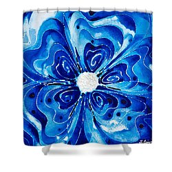 New Blue Glory Flower Art - Buy Prints Shower Curtain by Sharon Cummings
