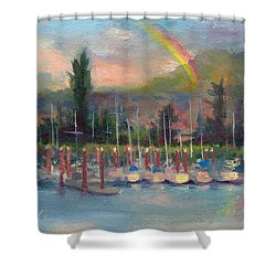 New Covenant - Rainbow Over Marina Shower Curtain by Talya Johnson