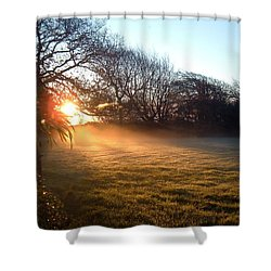 New Dawn Fades Shower Curtain by Richard Brookes