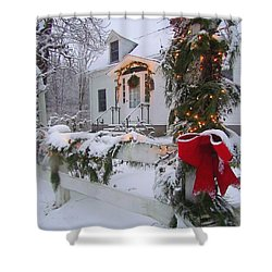 New England Christmas Shower Curtain