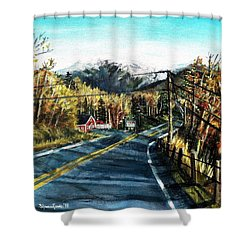 Shower Curtain featuring the painting New England Drive by Shana Rowe Jackson