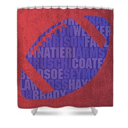New England Patriots Football Team Typography Famous Player Names On Canvas Shower Curtain by Design Turnpike
