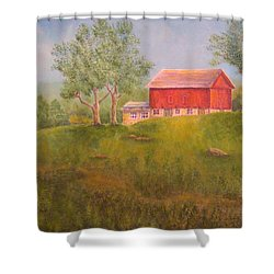 New England Red Barn At Sunrise Shower Curtain by Pamela Allegretto